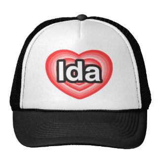 Amo el Ida. Te amo Ida. Corazón Gorros Bordados
