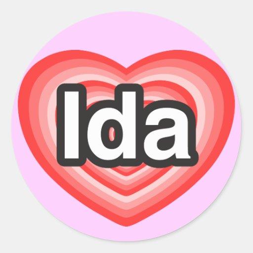 Amo el Ida. Te amo Ida. Corazón Pegatina Redonda