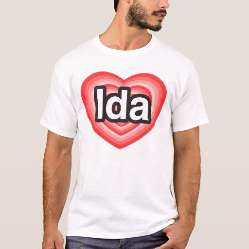 Amo el Ida. Te amo Ida. Corazón Playera