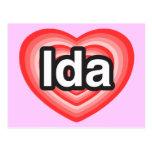 Amo el Ida. Te amo Ida. Corazón Tarjetas Postales