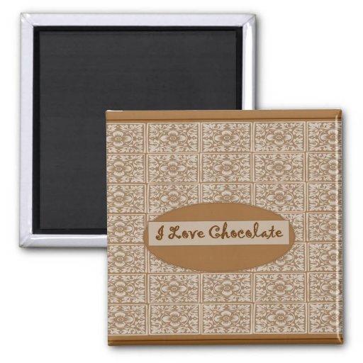 Amo el imán clásico del refrigerador del chocolate