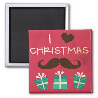 Amo el imán del bigote del navidad