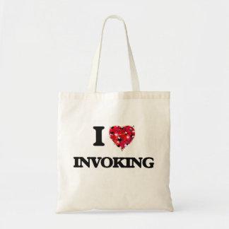 Amo el invocar bolsa tela barata