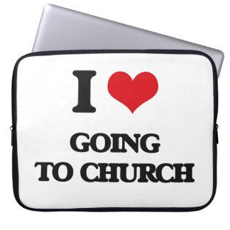 Amo el ir a la iglesia mangas computadora