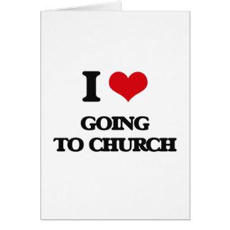 Amo el ir a la iglesia tarjeta de felicitación