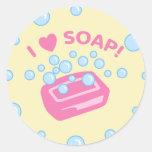 Amo el jabón etiquetas redondas