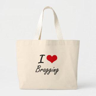 Amo el jactarme de diseño artístico bolsa tela grande