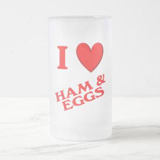 Amo el jamón y los huevos taza de cristal