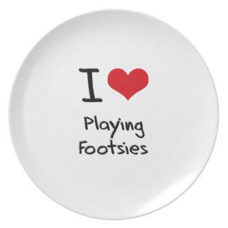 Amo el jugar de Footsies Platos Para Fiestas