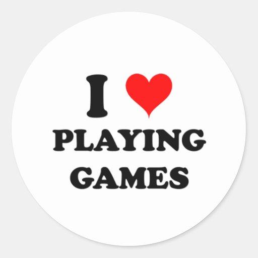 Amo el jugar de juegos pegatina redonda