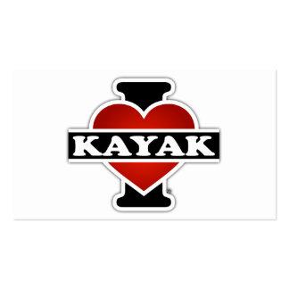 Amo el kajak tarjetas de visita