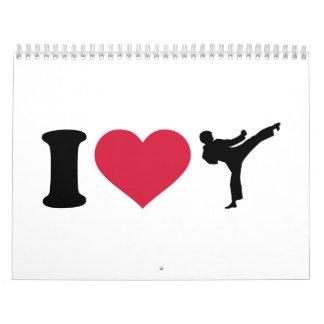 Amo el karate Kickboxing Calendario