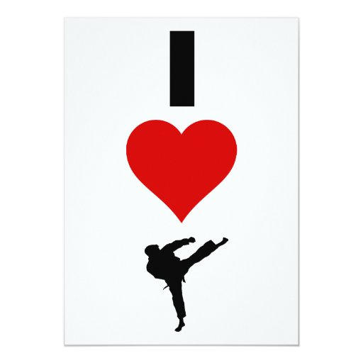 """Amo el karate (vertical) invitación 5"""" x 7"""""""