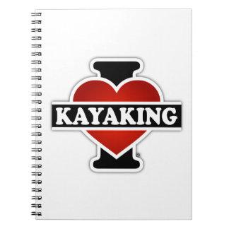 Amo el Kayaking Libretas Espirales