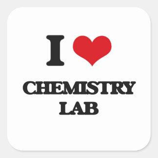Amo el laboratorio de química calcomania cuadradas personalizada