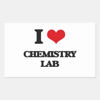 Amo el laboratorio de química rectangular pegatinas