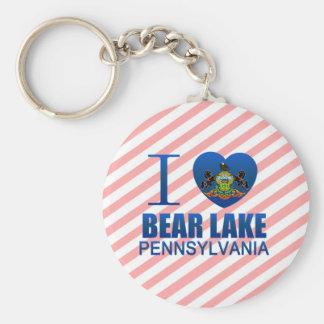 Amo el lago bear, PA Llavero Redondo Tipo Pin