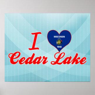 Amo el lago cedar, Wisconsin Póster