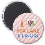 Amo el lago Fox, IL Imanes De Nevera