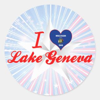 Amo el lago Lemán, Wisconsin Pegatina Redonda