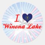 Amo el lago Winona, Indiana Pegatinas Redondas
