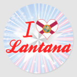 Amo el Lantana, la Florida Etiqueta Redonda