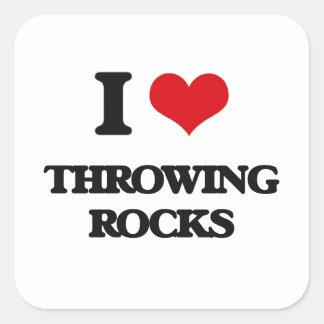Amo el lanzar de rocas pegatina cuadrada