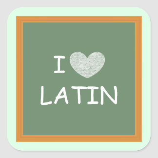 Amo el latín pegatina cuadrada