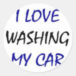Amo el lavar de mi coche pegatina redonda
