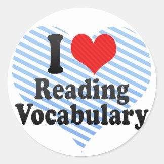 Amo el leer de vocabulario pegatina redonda