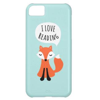 Amo el leer del zorro lindo del dibujo animado en