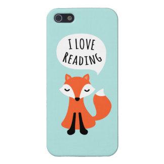 Amo el leer del zorro lindo del dibujo animado en  iPhone 5 coberturas
