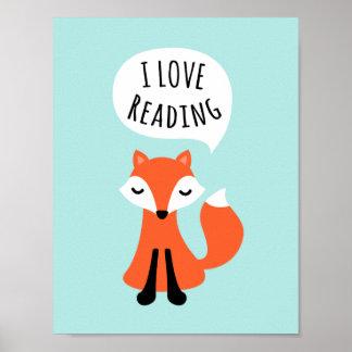 Amo el leer del zorro lindo del dibujo animado en  posters