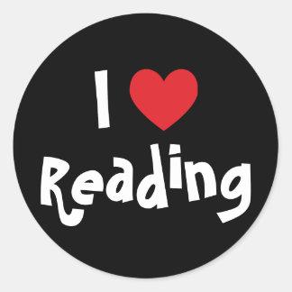 Amo el leer pegatinas redondas