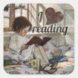 Amo el leer pegatina cuadrada
