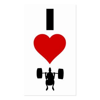 Amo el levantamiento de pesas (vertical) tarjetas de visita