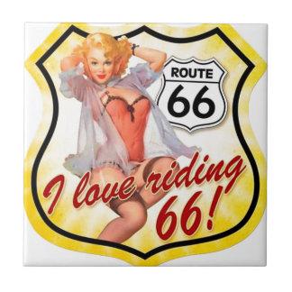 Amo el librar del Pin de la ruta 66 encima del chi Azulejo Cuadrado Pequeño