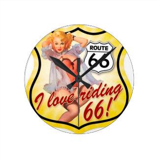 Amo el librar del Pin de la ruta 66 encima del chi Reloj Redondo Mediano