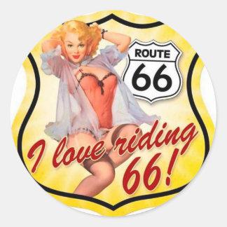 Amo el librar del Pin de la ruta 66 encima del Pegatina Redonda