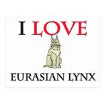 Amo el lince eurasiático postal