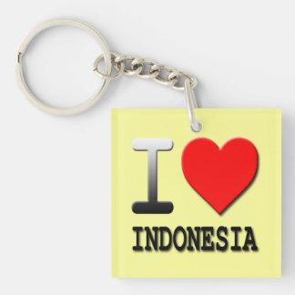 Amo el llavero de acrílico cuadrado de Indonesia