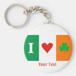 Amo el llavero de la bandera de Irlanda de los Llavero Redondo Tipo Chapa