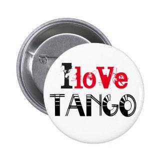 Amo el logotipo del tango pin redondo de 2 pulgadas