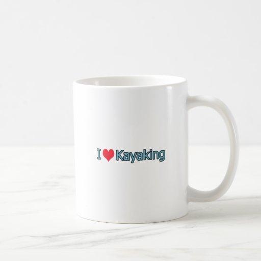 Amo el logotipo Kayaking Taza Clásica