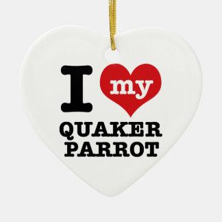 Amo el loro del quaker adorno navideño de cerámica en forma de corazón