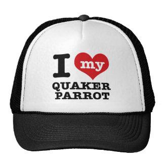 Amo el loro del quaker gorras