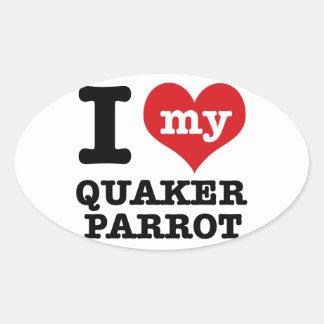Amo el loro del quaker pegatina ovalada