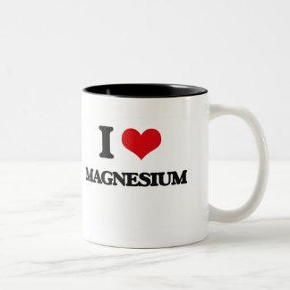 Amo el magnesio taza de café de dos colores