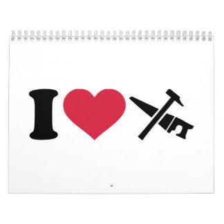 Amo el martillo de la sierra de las herramientas calendario