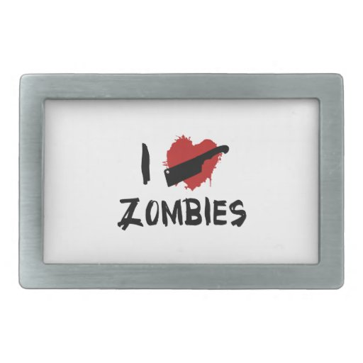 Amo el matar de zombis hebillas de cinturón rectangulares
